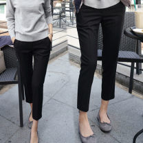 Women's large Autumn 2020, winter 2020 Black elastic high quality fabric M [recommended 85-100 Jin], l [100-120 Jin], XL [120-140 Jin], 2XL [140-160 Jin recommended], 3XL [160-180 Jin recommended], 4XL [180-200 Jin recommended] trousers singleton  commute Straight cylinder moderate Solid color pocket