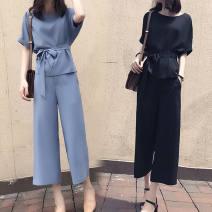 Women's large Summer 2020 Blue, black Big L, big XL, big M, big 2XL, big 3XL, big 4XL Two piece set easy thin Cardigan Short sleeve Solid color WN0002113