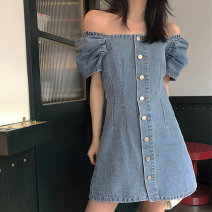 Women's large Summer 2021 Picture color L [90-110 Jin], XL [110-130 Jin], 2XL [130-150 Jin], 3XL [150-170 Jin], 4XL [170-200 Jin] Dress singleton  commute Self cultivation moderate Socket Short sleeve Solid color Retro One word collar Medium length Other / other Short skirt