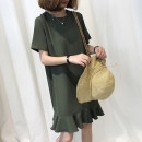 Women's large Spring 2021, summer 2021 Army green, black L [recommended 100-120 kg], XL [recommended 120-140 kg], 2XL [recommended 140-155 kg], 3XL [recommended 155-175 kg], 4XL [recommended 175-200 kg] Dress singleton  commute easy moderate Socket Short sleeve Solid color Retro Crew neck cotton