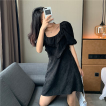 Women's large Summer 2020 black Big L, big XL, big M, big 2XL, big 3XL, big 4XL Dress singleton  commute easy moderate Short sleeve Korean version square neck Three dimensional cutting puff sleeve WN0000335 Other / other 25-29 years old