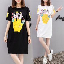 T-shirt White, black S,M,L,XL,2XL,3XL,4XL,5XL Summer 2020 Short sleeve Crew neck easy Medium length routine commute cotton 86% (inclusive) -95% (inclusive) Korean version originality Cartoon animation Other / other WN0002075 printing