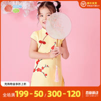 Dress Light yellow and light pink female Bornbay 80cm 90cm 100cm 110cm 120cm Cotton 100% summer Chinese style Short sleeve cotton A-line skirt 202Q219 Class A Winter 2020 12 months 6 months 9 months 18 months 2 years 3 years 4 years 5 years 6 years 7 years old
