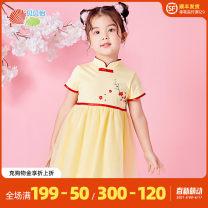 Dress female Bornbay 80cm 90cm 100cm 110cm 120cm Other 100% summer Chinese style Short sleeve other Splicing style Class A Winter 2020 12 months 6 months 9 months 18 months 2 years 3 years 4 years 5 years 6 years 7 years old