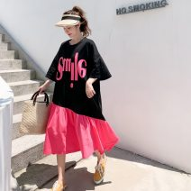 Women's large Summer 2020 Orange green, plum red Big size average Dress singleton  Sweet easy thin Socket Short sleeve letter Crew neck Medium length cotton printing and dyeing raglan sleeve 25-29 years old Three dimensional decoration Medium length Irregular skirt Hollowing out college