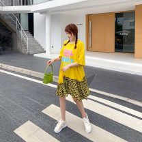 Women's large Summer 2020 Yellow, black Dress singleton  commute easy thin Socket Short sleeve Korean version Crew neck Medium length polyester printing and dyeing Bat sleeve 25-29 years old Asymmetry 81% (inclusive) - 90% (inclusive) Middle-skirt Irregular skirt Hollowing out