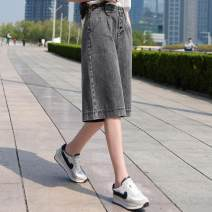 Jeans Summer 2020 Black grey 26,27,28,29,30,31,32 Pant High waist Straight pants Button Other / other