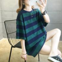 T-shirt 8810 # yellow 8810 # black 8810 # red 8810 # blue 8810 # green M L XL 2XL Summer 2020 Short sleeve Crew neck easy Medium length routine commute cotton 86% (inclusive) -95% (inclusive) 18-24 years old Korean version originality Thick horizontal stripe Jingyan JHG-8810# Print stitching