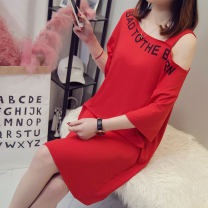 Women's large Spring of 2019 White black red yellow Big s big M big l big XL big XXL T-shirt singleton  commute easy thin Conjoined Short sleeve letter Korean version One word collar Medium length polyester printing and dyeing routine 617# Jingyan 25-29 years old Asymmetry Middle-skirt other straps