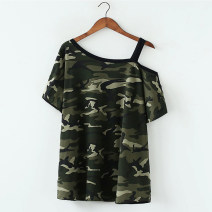 Women's large Summer of 2018 S M L XL XXL T-shirt singleton  commute easy moderate Socket Short sleeve Decor Korean version One word collar Medium length polyester fiber printing and dyeing routine Jingyan 18-24 years old 91% (inclusive) - 95% (inclusive) Medium length Pure e-commerce (online only)