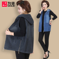 Middle aged and old women's wear Spring of 2019 Blue black leisure time Vest easy singleton  Solid color 40-49 years old Cardigan moderate Hood routine pocket cotton 71% (inclusive) - 80% (inclusive) Pure e-commerce (online only) zipper