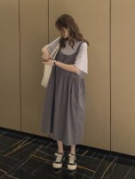 Dress Other / other Grey_ One row buckle back belt skirt suit, white_ Light apricot strap skirt suit Average size Korean version Short sleeve have more cash than can be accounted for summer Crew neck Solid color WS009669
