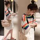 Dress Other / other White strap skirt + rainbow t S,M,L,XL,XXL Korean version elbow sleeve Medium length spring Crew neck stripe Denim WS005254