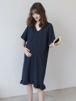Dress Other / other Navy_ Ruffle Skirt Average size leisure time Short sleeve Medium length summer V-neck Solid color Pure cotton (95% and above)