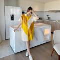 Dress Other / other yellow M, L Korean version Short sleeve Medium length summer stand collar shape Cotton and hemp