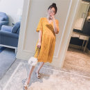 Dress Other / other Yellow, white Average size Korean version elbow sleeve Medium length summer V-neck Solid color Pure cotton (95% and above)
