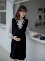 Dress Other / other black Average size Korean version Long sleeves Medium length spring Solid color