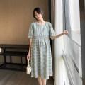 Dress Other / other Green grid, red grid M,L,XL,XXL Korean version Short sleeve Medium length summer Crew neck lattice Cotton and hemp