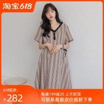 Dress Other / other Korean version Short sleeve Medium length summer V-neck stripe WS010095 khaki Average size