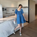 Dress Other / other blue M,L,XL Short sleeve Medium length summer square neck Solid color Cotton and hemp