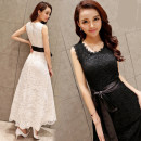 Dress Summer 2021 Black, white S,M,L,XL,2XL longuette singleton  Sleeveless commute Crew neck High waist Solid color zipper Big swing other Others 25-29 years old Type A Korean version 81% (inclusive) - 90% (inclusive) Lace
