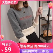 Sweater / sweater Winter 2020 M L XL 2XL Long sleeves routine Socket singleton  Plush Crew neck easy commute routine letter 18-24 years old 96% and above Light and shallow Korean version polyester fiber cotton Intradermal bile duct Polyester 100% Pure e-commerce (online only)