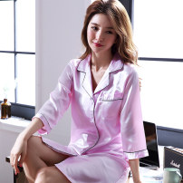 Nightdress Donico M L XL XXL Simplicity Long sleeves pajamas Middle-skirt summer Solid color youth Small lapel Polyester (polyester) More than 95% silk DNK-160462 200g and below Summer of 2019 Polyester 100% Pure e-commerce (online only)