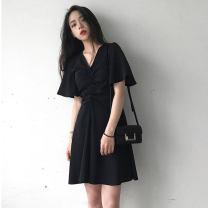 Dress Summer of 2019 Black, blue S [80-95 Jin], m [95-110 Jin], l [110-125 Jin], 2XL [125-145 Jin], 2XL [145-160 Jin], 3XL [160-180 Jin], 4XL [180-200 Jin] Middle-skirt singleton  Short sleeve commute V-neck High waist Solid color Socket Big swing pagoda sleeve 18-24 years old Type A Korean version