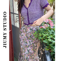 Professional dress suit S. M, l, average size Fairy purple top, floral skirt, top + floral skirt Summer 2021 Short sleeve shirt A-line skirt 18-25 years old 71% (inclusive) - 80% (inclusive)