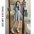 Dress Summer 2021 Blue check S, M Short skirt singleton  Short sleeve commute square neck 18-24 years old Retro