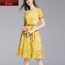 Dress Summer 2020 yellow M L XL Middle-skirt singleton  Short sleeve commute Crew neck middle-waisted other zipper Big swing 35-39 years old Type A O. S.Y. / Ou Shiying lady Lace up print OSY280100773 More than 95% other Other 100% Pure e-commerce (online only)