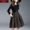 Dress Autumn of 2019 black S M L XL Short skirt singleton  three quarter sleeve commute Crew neck middle-waisted stripe zipper A-line skirt routine Others 30-34 years old Type A O. S.Y. / Ou Shiying lady Lace up stitching More than 95% cotton Cotton 98% polyester 2% Pure e-commerce (online only)