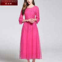 Dress Spring 2021 Rose red lotus root pink grey S M L XL 2XL longuette singleton  three quarter sleeve commute Crew neck middle-waisted Solid color Socket Big swing routine 35-39 years old Type A O. S.Y. / Ou Shiying lady Embroidery OSY38011330 More than 95% nylon Polyamide fiber (nylon) 100%