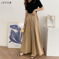 Casual pants Navy Camel One size fits 80-130 kg Summer of 2019 Ninth pants Wide leg pants High waist commute Thin money 18-24 years old JMH20190609T01 Jiameihuan Korean version bow Polyester 100% Pure e-commerce (online only)