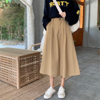 skirt Spring 2020 S M L Grey Khaki black longuette commute High waist A-line skirt Solid color Type A 18-24 years old JMH20200406L01 More than 95% Jiameihuan polyester fiber pocket Korean version Polyester 100% Pure e-commerce (online only)