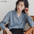shirt Blue white S M L Autumn of 2019 polyester fiber 96% and above Long sleeves commute Regular tailored collar Single row multi button shirt sleeve Solid color 18-24 years old Straight cylinder Jiameihuan Korean version JMH20190731L06 Polyester 100% Pure e-commerce (online only)