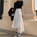 skirt Spring of 2019 Average size White black Mid length dress commute High waist Cake skirt Solid color Type A 18-24 years old More than 95% Jiameihuan polyester fiber Fold asymmetry Korean version Polyester 100% Pure e-commerce (online only)