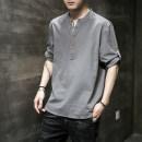T-shirt Youth fashion Gray (button adjustable, long sleeve can be short sleeve) white (button adjustable, long sleeve can be short sleeve) black (button adjustable, long sleeve can be short sleeve) Navy (button adjustable, long sleeve can be short sleeve) thin M L XL 2XL 3XL 4XL 5XL Zhe yuan V-neck