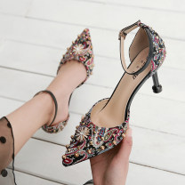 Low top shoes 34,35,36,37,38,39 Other / other Black, apricot Sharp point cloth Fine heel High heel (5-8cm) Shallow mouth PU Spring 2020 Flat buckle princess Adhesive shoes Youth (18-40 years old) Broken flowers rubber Single shoes Light mouth, water drill, color matching, metal decoration daily