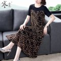 Women's large Summer 2021 Golden red M L XL 2XL 3XL 4XL Dress singleton  commute Straight cylinder moderate Socket Short sleeve Decor Korean version Crew neck Medium length silk Three dimensional cutting other HS19223 Cold element 40-49 years old longuette Other 100% Pure e-commerce (online only)
