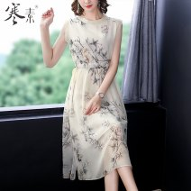 Middle aged and old women's wear Summer 2021 Apricot S M L XL 2XL 3XL simple Dress Self cultivation singleton  Decor Over 60 years old Socket moderate Crew neck Medium length routine HS19175 Cold element other Other 100% 96% and above Pure e-commerce (online only) Medium length real silk