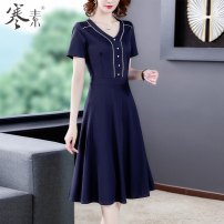 Dress Summer 2021 Navy Blue M L XL 2XL 3XL Mid length dress singleton  Short sleeve commute V-neck High waist Solid color routine Others 40-49 years old Type A Cold element Korean version HS19209 More than 95% other Other 100% Pure e-commerce (online only)