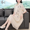 Middle aged and old women's wear Summer 2021 Beige M L XL 2XL 3XL commute Dress easy singleton  other Socket moderate Polo collar Medium length routine HS19248 Cold element other Other 100% 96% and above Pure e-commerce (online only) Three buttons Medium length real silk other Retro