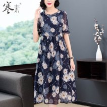 Middle aged and old women's wear Summer 2021 Decor M L XL 2XL commute Dress easy singleton  Retro Design Socket thin Crew neck Medium length other HS19262 Cold element other Other 100% 96% and above Pure e-commerce (online only) Medium length real silk other Retro