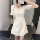 Dress Summer 2021 S M L XL Short skirt singleton  Short sleeve commute square neck Solid color routine 18-24 years old Yilian products Button 31% (inclusive) - 50% (inclusive) cotton