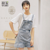 Dress Spring 2020 blue S M L Short skirt singleton  Sleeveless commute High waist Solid color Socket Ruffle Skirt other straps 18-24 years old Type A Korean version Pocket strap zipper 81% (inclusive) - 90% (inclusive) Denim cotton Pure e-commerce (online only)