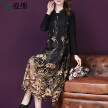 Women's large Autumn 2020 New champagne gold L XL 2XL 3XL 4XL 5XL Dress singleton  commute easy moderate Socket Long sleeves Korean version V-neck Three dimensional cutting routine H207413 Fine posture 40-49 years old Embroidery longuette Other 100% Pure e-commerce (online only)