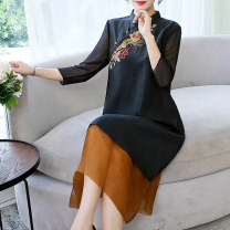 Women's large Summer 2021 black L XL M 2XL 3XL Dress singleton  commute easy moderate Socket three quarter sleeve Solid color Retro stand collar other Three dimensional cutting routine G212364 Fine posture 40-49 years old Embroidery Medium length Other 100% Pure e-commerce (online only) Three buttons