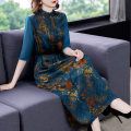 Women's large Summer 2021 blue XL 2XL 3XL 4XL M L Dress singleton  commute easy moderate Socket elbow sleeve Solid color Korean version Half high collar Three dimensional cutting routine G213345 Fine posture 40-49 years old longuette Other 100% Pure e-commerce (online only)