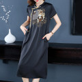 Women's large Summer 2021 black L XL 2XL 3XL 4XL Dress singleton  commute easy moderate Socket Short sleeve Korean version stand collar Three dimensional cutting routine Z214093 Fine posture 40-49 years old longuette Polyester 100%